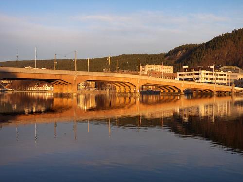 morning bridge norway sunrise reflections river drammen