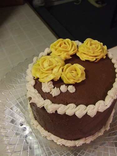Chocolate cake -- First decorative icing