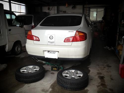 Change a snow tire.