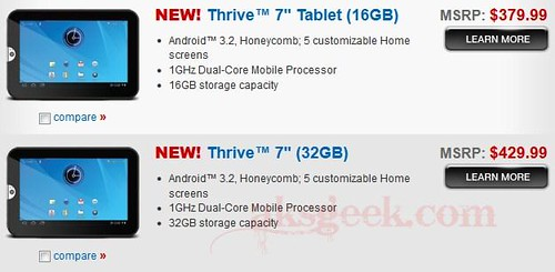 Toshiba Thrive 16GB and 32GB