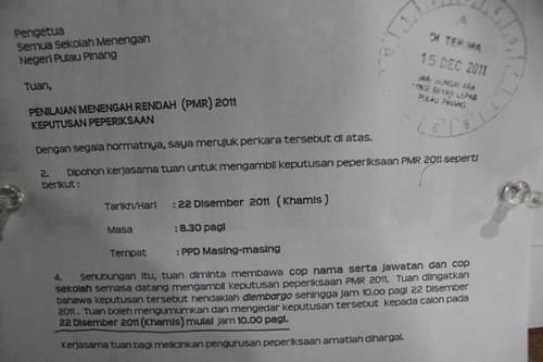 Surat rasmi tarikh umum result PMR 2011