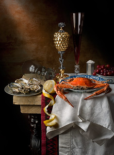 Still Life with crab, pineapple cup and lemon