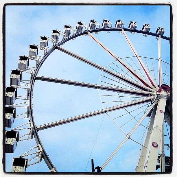 Christmas wheel, blue sky.