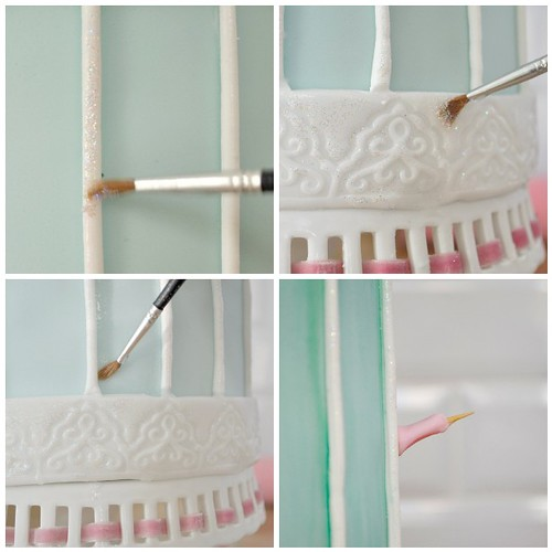 Decorating my bird cage shaped cake steps 17-20