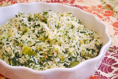 Spinach, Leek & Garlic Rice