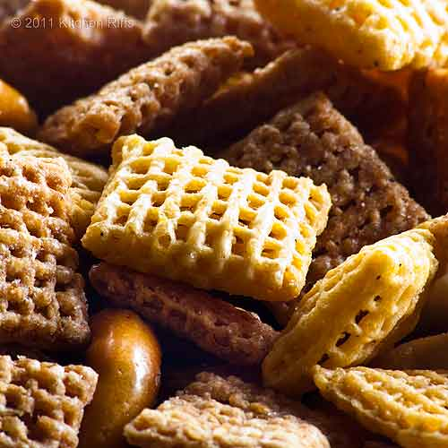 Homemade Chex Mix close-up macro view