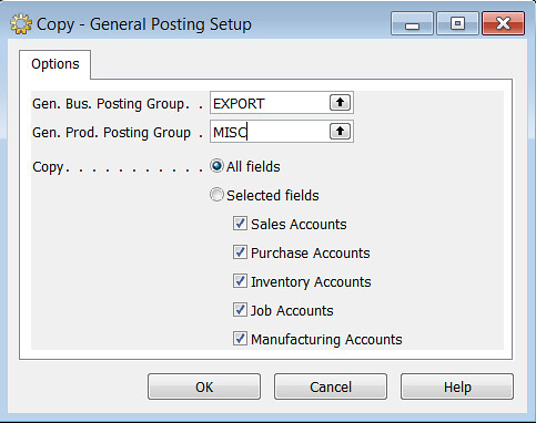 Copy General Ledger Setup - Copy Funnction