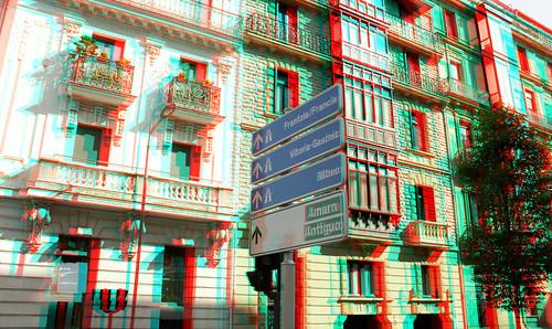 San Sebastian in stereoscopic 3D anaglyph