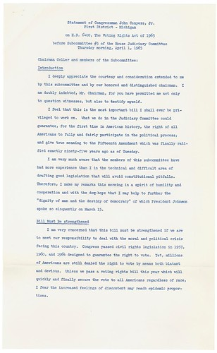 Statement of Congressman John Conyers, Jr., on House Resolution 6400, 04/01/1965 (page 1 of 2)