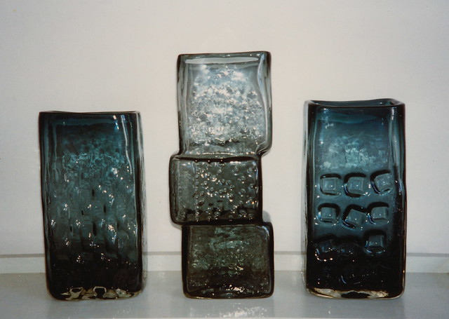 Whitefriars Glass Vases designed by Geoffrey Baxter 1966