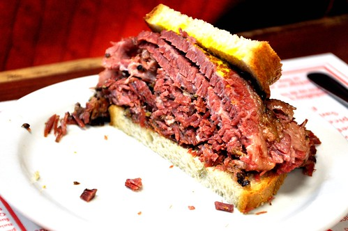 Half a smoked meat sandwich from Schwartz's