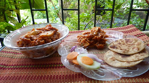 Aloo Pyaaz sabzi with Tikkad - Rajasthani dish