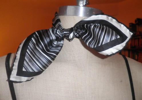 Vintage Scarf Black and White Asymmetrical Stripes by Brick City Vintage
