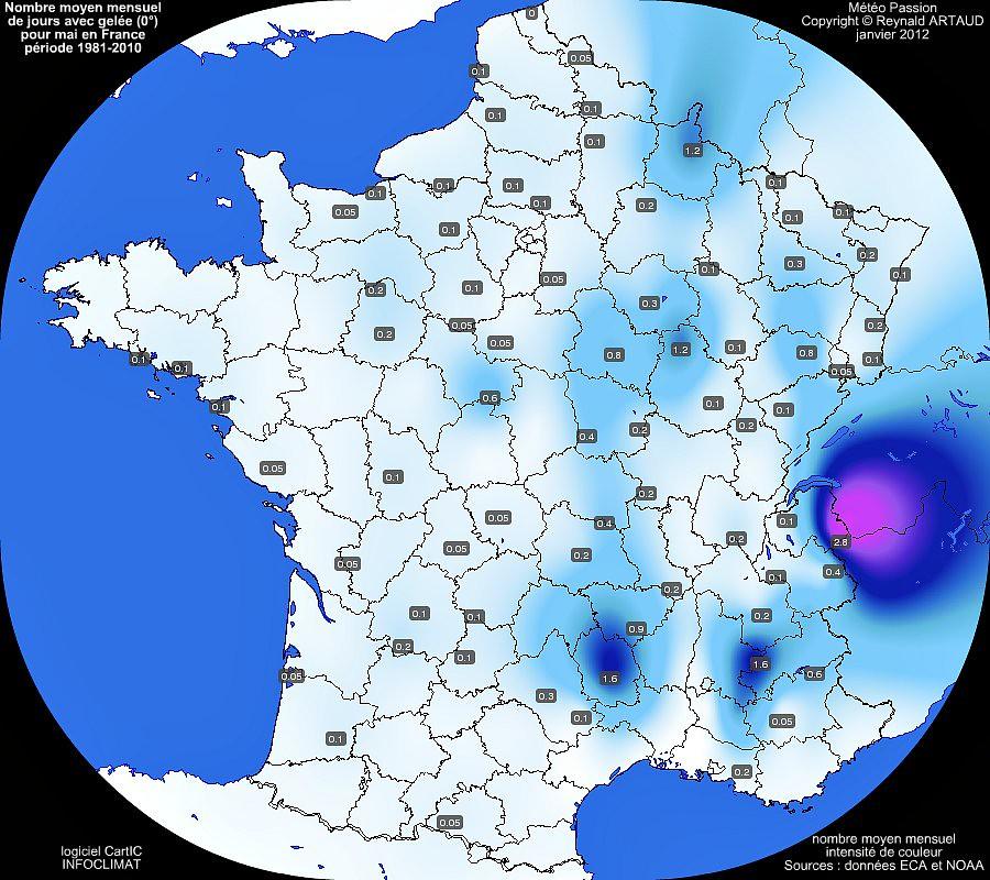 nombre moyen mensuel de jours avec gel�e 0� pour le mois de mai en France sur la p�riode 1981-2010