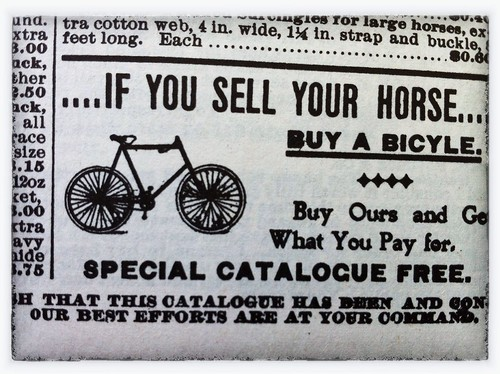 If you sell your horse, buy a bicycle: Sears Roebuck catalogue, 1897