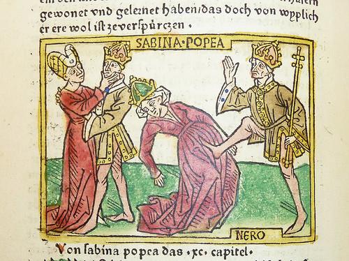 Woodcut illustration of Poppaea Sabina and Nero