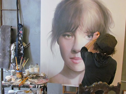 Matt Doust working on one of his new portraits for Thinkspace's booth at the Affordable Art Fair