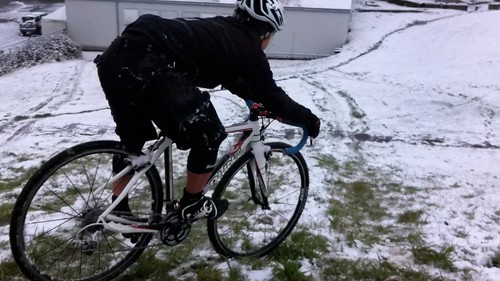 Riding downhill in snowy Gasworks Park