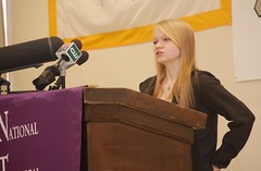 Morgan Horn delivers remarks at a podium during the release of Maine's strategic education plan.