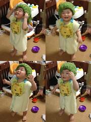 髪を乾かす帽子みたいなやつをかぶるとらちゃん(2012/1/17)