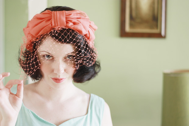 coral bow hat veil