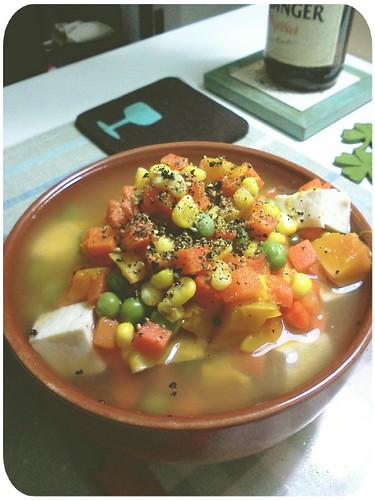 過年前之清冰箱晚餐 ::: 三色蔬菜+南瓜+百頁豆腐(沒了,就這樣了) by 南南風_e l a i n e