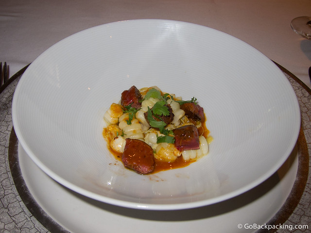Chicken liver with corn and heart of palm