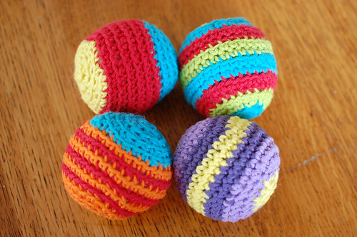crocheted stripy balls