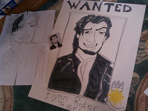 Flynn Rider Wanted Poster http://recessionhome.wordpress.com/2012/01/27/pin-of-the-day-play-pin-the-pan-on-this-flynn-rider-wanted-poster/