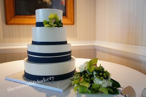Elegant Navy Blue Wedding Cake The clean lines on the varied sized bands