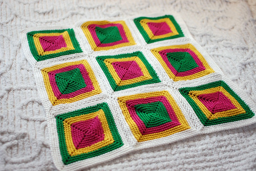 fuchsia, green and yellow crocheted nine-patch