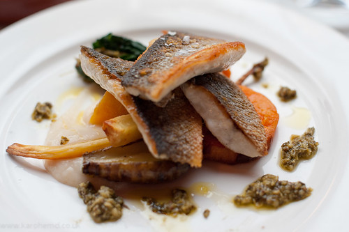 Sea bass, root veg, salsa verde