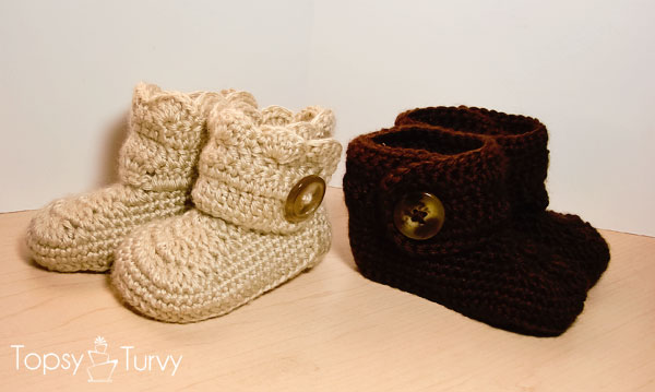 Crochet Wrap Around Button Infant Boots baby booties free pattern