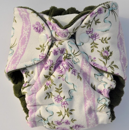Bumstoppers Newborn Purple Wallflowers  fitted CV