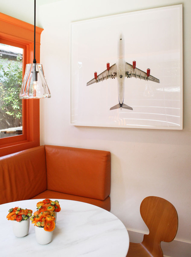Orange & White Dining Area