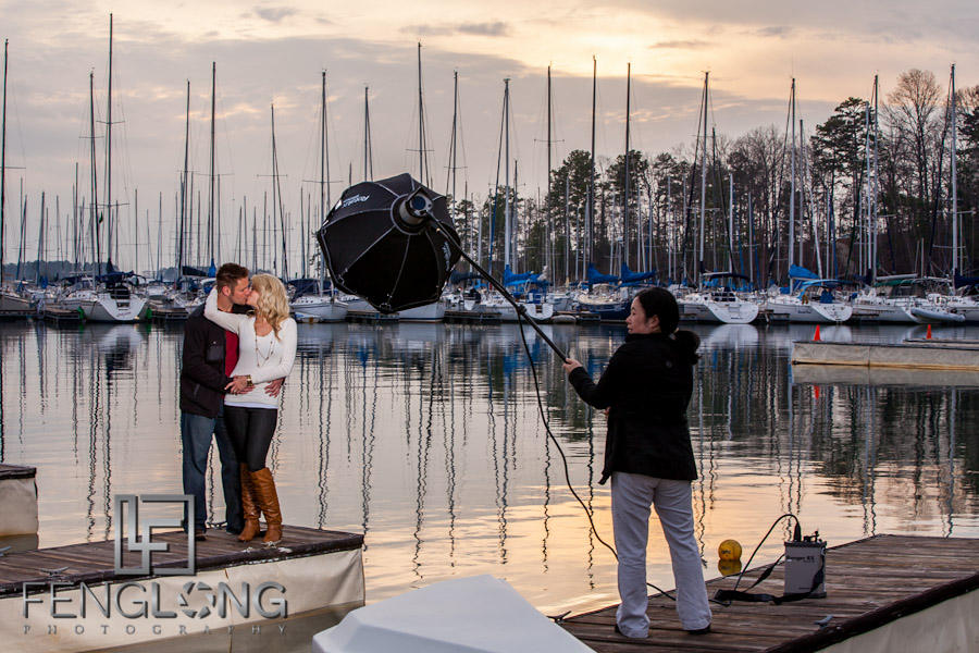 Behind the Scenes | Leslie & Phil's Engagement Session | Sunrise Cove Marina | Lake Lanier Wedding Photographer