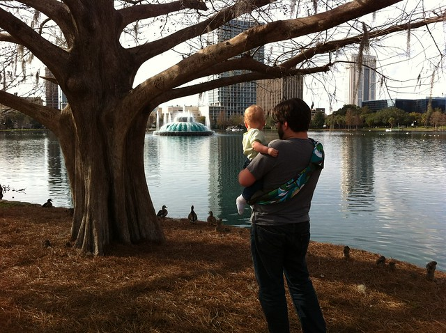 Rob and George looking at ducks at Lake Eola.