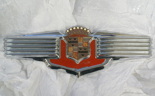 Cadillac trunk ornament arrived to be restored.
