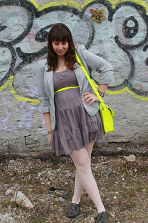 Neon and neutral outfit: Anthropologie dress, heather gray blazer, neon yellow bag and belt