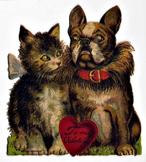 French Bulldog with Cat 'To My Valentine'