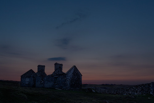 ireland sunset island ruins sundown inishbofin