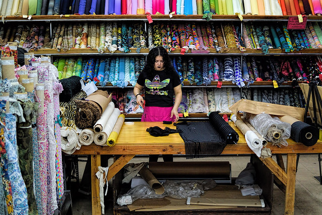 Worker at the Fabric Shop