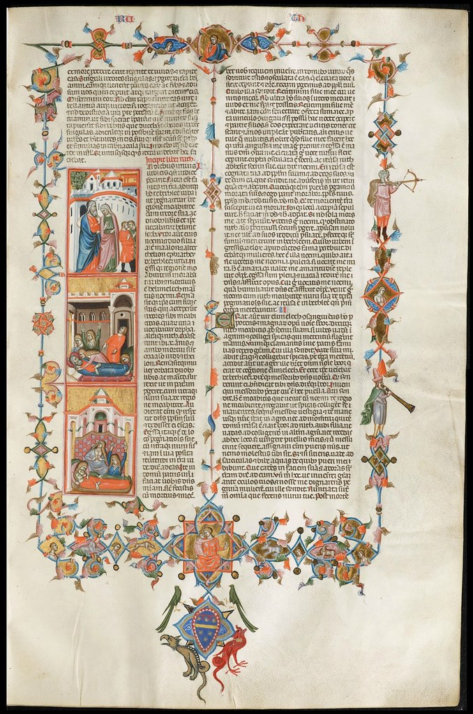 parchment bible manuscript page - highly decorated