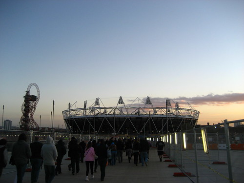 The Olympic Stadium and the Anish Kapoor Sculpture at sunset