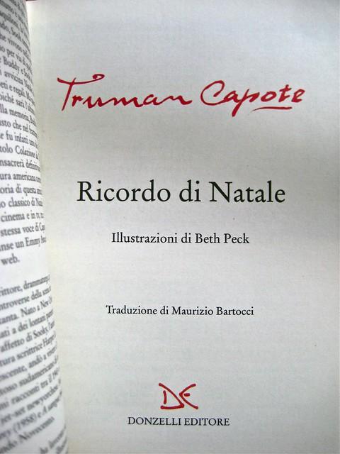Truman Capote, Ricordo di Natale, Donzelli 2011; ill. col. di Beth Peck [resp. grafica non indicata]. frontespizio. (part.), 1