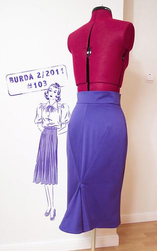 Burda 2-2011-103B (back), marchewkowa, blog, szafiarka, kraiectwo, szycie, DIY, spódnica, retro, vintage, bawełna satynowa