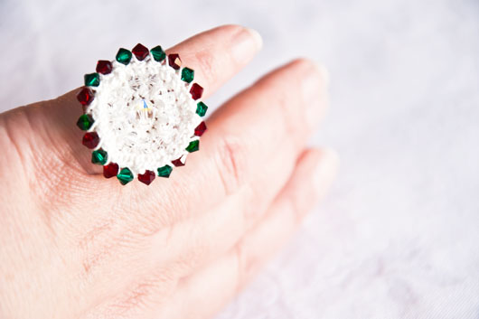 holiday crochet ring with swarovski crystals