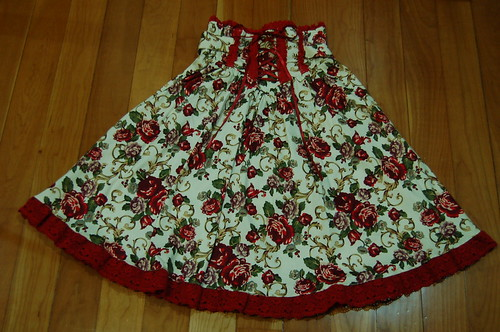 Lolita Closet Count! Skirts: Red - Bodyline Floral High Waist Skirt