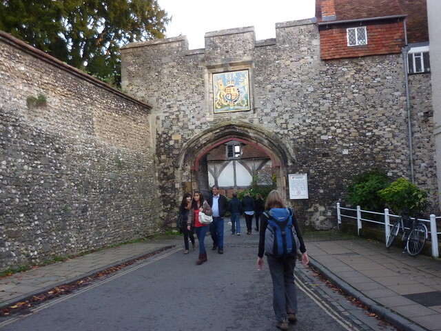 Entering the grounds of Winchester Cathedral