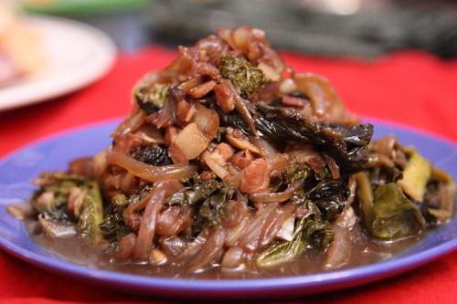 Braised Greens with Onion, Bacon, and IPA